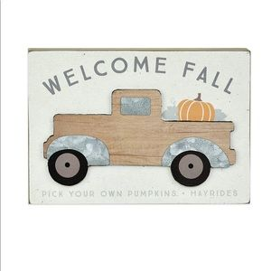 Welcome Fall Truck Farmhouse Decor Sign
